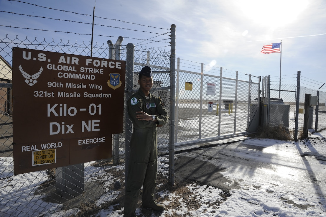 Capt. Javon Quarles, 321st Missile Squadron mission combat crew commander, stands outside a Missile Alert Facility, Dec. 18, 2019, near Dix, Neb.. Quarles served 4 years on active duty with the 321st MS and transitioned into the Air Force Reserve earlier this year. (U. S. Air Force photo by Glenn S. Robertson)
