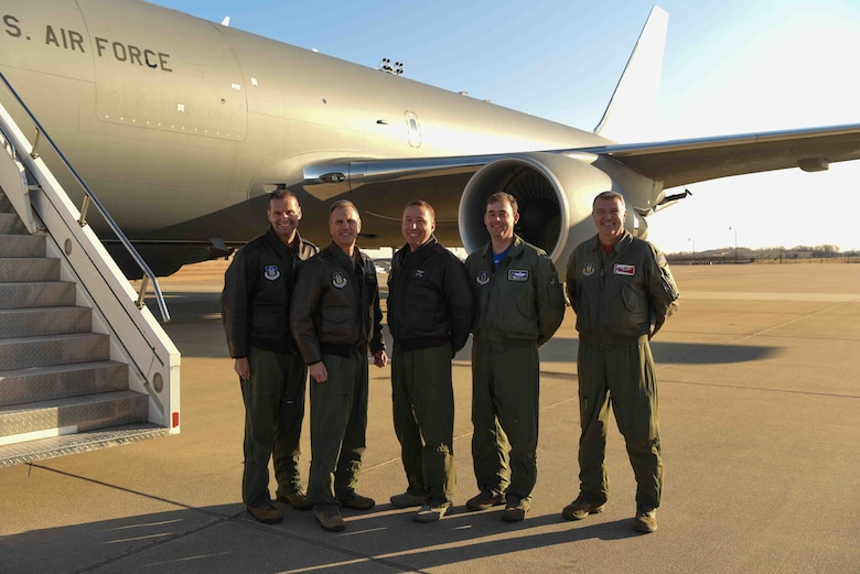 Maj. Gen. Randall A. Ogden, 4th Air Force commander, poses with aircrew that delivered McConnell's 20th KC-46A Pegasus, Dec. 20, 2019, at McConnell Air Force Base, Kan. McConnell will have a fleet of 36 KC-46s to lead the future of aerial refueling. (U.S. Air Force photo by Airman 1st Class Alexi Bosarge)