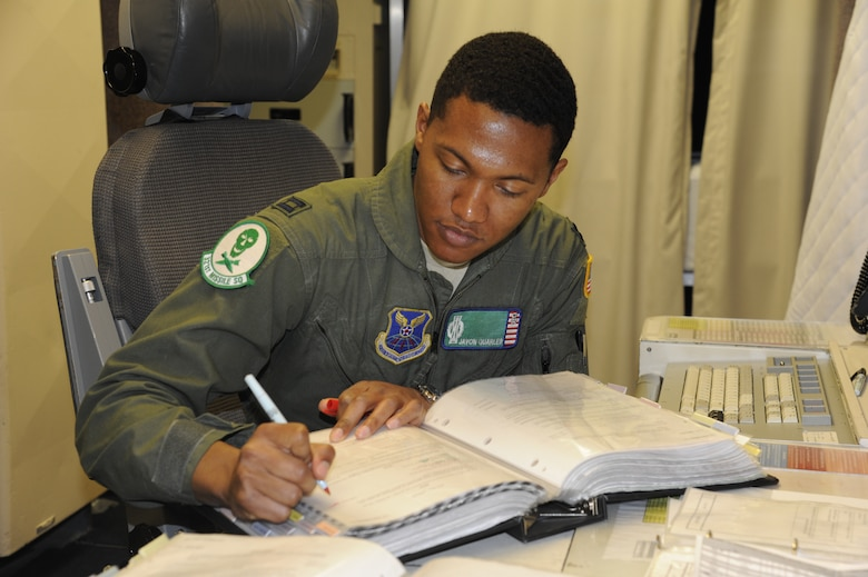 Capt. Javon Quarles, 321st Missile Squadron mission combat crew commander, reviews missile alert facility checklists during his second alert as an individual mobilization augmentee. Quarles served 4 years on active duty with the 321st MS and transitioned into the Air Force Reserve earlier this year.  (U. S. Air Force photo by Glenn S. Robertson)