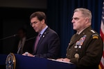 Defense Secretary Dr. Mark T. Esper and Army Gen. Mark A. Milley, chairman of the Joint Chiefs of Staff, speak to reporters at the Pentagon, Dec. 20, 2019.