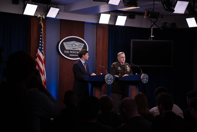 Defense Secretary Mark T. Esper and Chairman of the Joint Chiefs of Staff Army Gen. Mark A. Milley brief the media at the Pentagon, Washington D.C., Dec. 20, 2019.