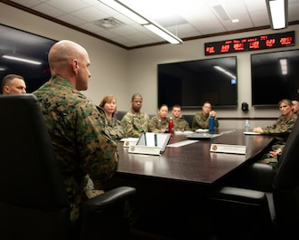 Marine Corps Lt. Gen. David G. Bellon, commander of Marine Corps Forces Reserve, visits Marine Corps Forces Cyberspace Command Marines at Lasswell Hall, Fort Meade, Maryland, Dec. 20, 2019. Maj. Gen. Matthew G. Glavy, MARFORCYBER commander, prioritizes people because without the right motivated, trained and empowered people the mission would not be accomplished