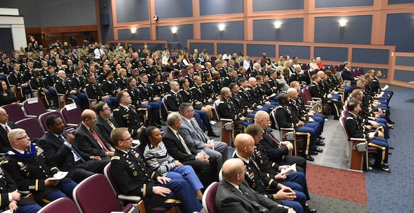 A Command and General Staff School audience is seated in an auditorium