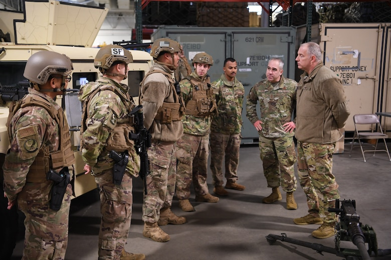 Maj. Gen. John Gordy (right), U.S. Air Force Expeditionary Center commander, speaks with Airmen from the 621st Contingency Response Wing at the Global Deployment Readiness Center, Joint Base McGuire-Dix-Lakehurst, New Jersey Dec. 17, 2019. Gordy along with Chief Master Sgt. Kristopher Berg, USAF EC command chief, spent the day learning about the CRW mission. (U.S. Air Force photo by Tech. Sgt. Luther Mitchell)