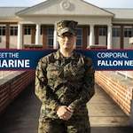 U.S. Marine Corps Cpl. Fallon Newberry, an administrative specialist assigned to Headquarters and Headquarters Squadron, poses for a photo in front of the general's building at Marine Corps Air Station Cherry Point, North Carolina, Dec. 3, 2019. Newberry joined the Marine Corps because she wanted to serve her country honorably. Newberry's responsibilities as the installation sergeant major's administrative clerk include helping set up meetings, coordinating events, and keeping up with correspondence that goes in and out of the office. (U.S. Marine Corps photo illustration by Sgt. Tylor J. Camfield)