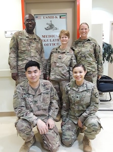 The MRO/PAD team picture from left to right. Back row, Capt. Morgan, Capt. Baumann and Sgt. 1st Class Brown, front row:  Spc. Seo and Spc. Jimenez. After nine-months of research, collaboration and old-fashioned hard work, CENTCOM now has standard procedures for everything related to patient administration from eligibility and registration to tracking, documentation and movement in theater as well as follow-on definitive care in the U.S.