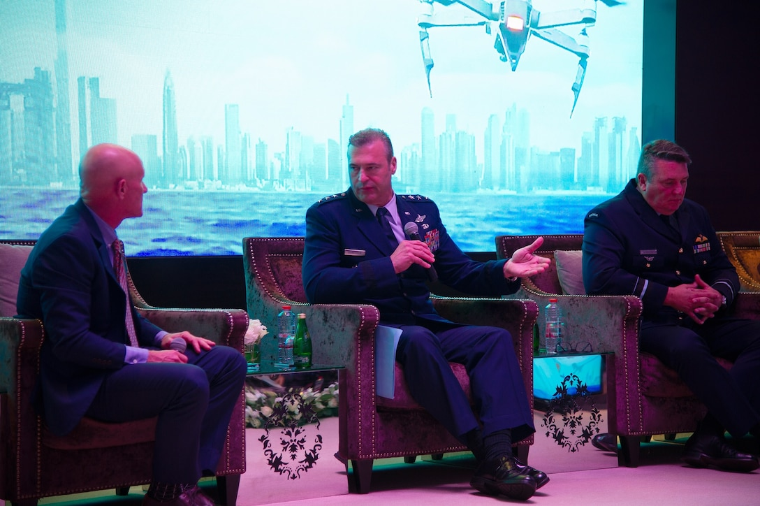 Lt. Gen. Joseph T. Guastella Jr., commander of U.S. Air Forces Central Command, speaks at the 2019 Dubai International Air Chiefs Conference in Dubai, United Arab Emirates, Nov. 16, 2019.