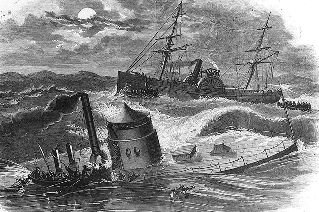 Sketch of a small boat taking crewmen off the sinking USS Monitor in rough seas. The USS Rhode Island is in the background.