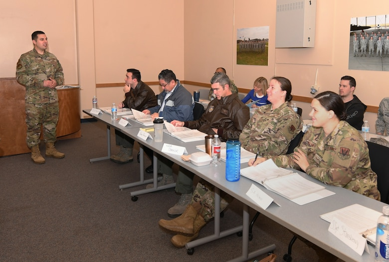 Staff Sgt. Ryan Jones, 372nd Training Squadron U-2 Dragon Lady Electrical and Environmental (E&E) Systems instructor, teaches the Principles of Instruction course to Airmen Dec. 16, 2019 on Beale Air Force Base, California. The Principles of Instructions course is a two week course that teaches students all aspects of becoming an instructor. (U.S. Air Force Photo by Airman Luis A. Ruiz-Vazquez)