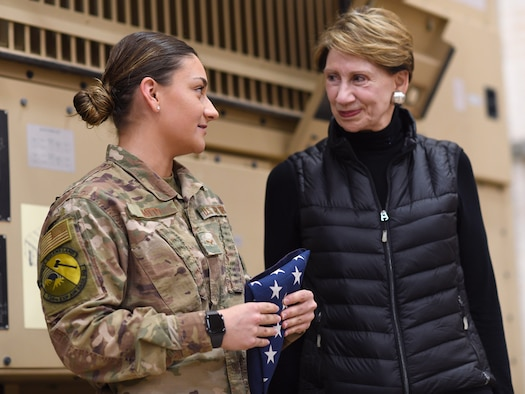 Secretary of the Air Force Barbara M. Barrett speaks to an Airman deployed to the 724th Expeditionary Air Base Squadron during her visit to Nigerien Air Base 201, Niger, Dec. 21, 2019. During her first visit to the African continent since taking office in October, Barrett's focus was centered solely on the U.S. service members deployed there. (U.S. Air Force photo by Staff Sgt. Alex Fox Echols III)