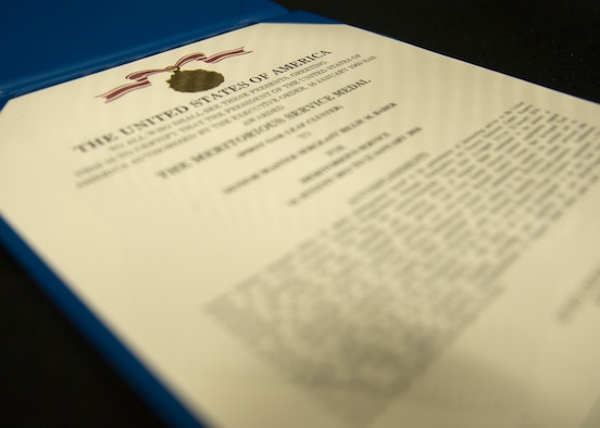 Photo of an Air Force decoration citation.