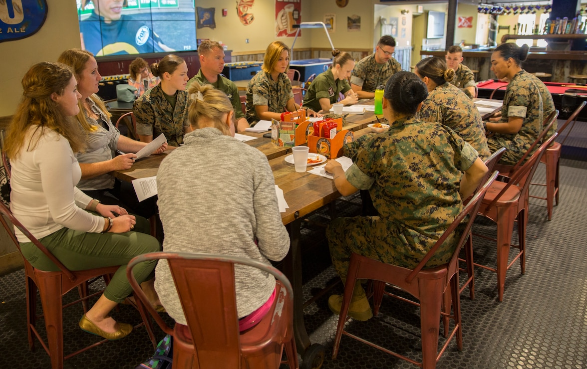Single Marine Program representatives conduct a SMP council meeting at the Roadhouse, Marine Corps Air Station Cherry Point, North Carolina, Oct. 24.