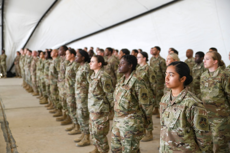 Prince Sultan Air Base, Kingdom of Saudi Arabia -- Airmen from the 378th Air Expeditionary Wing stand in formation during an activation ceremony and assumption of command here, Dec. 17, 2019.