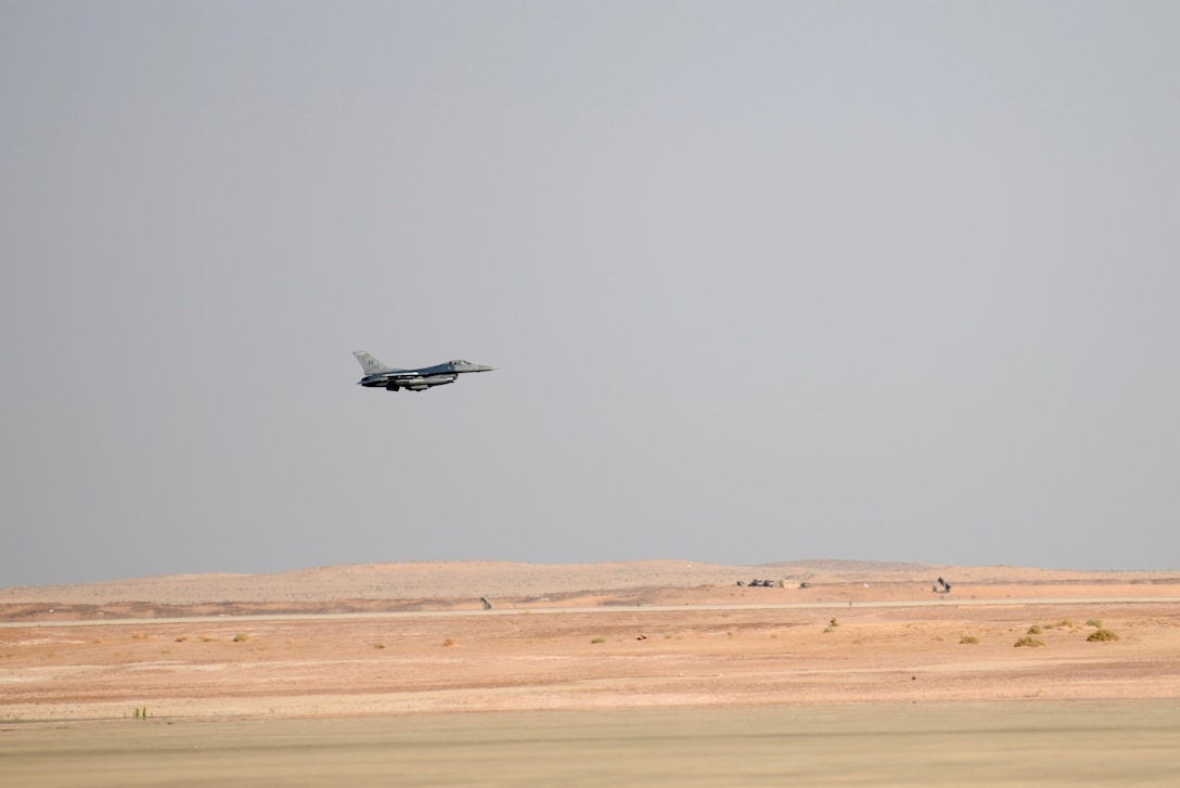 Prince Sultan Air Base, Saudi Arabia -- An F-16 Fighting Falcon, assigned to the 555 Expeditionary Fighter Squadron, prepares to land Dec. 2, 2019 at Prince Sultan Air Base, Saudi Arabia.
