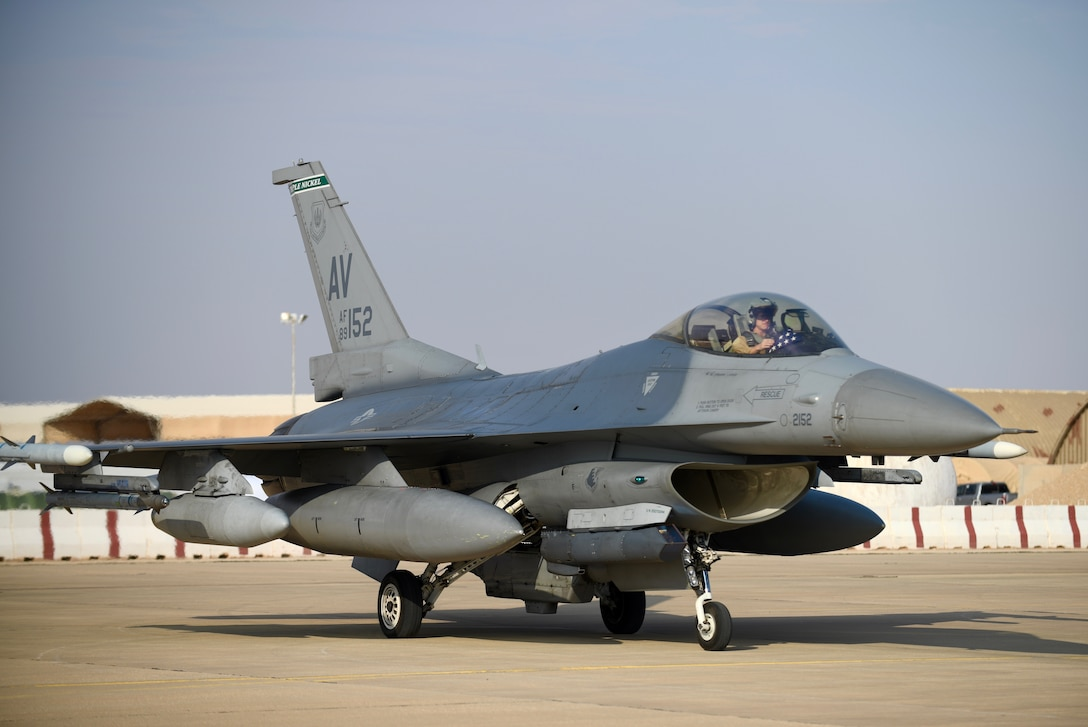 An F-16 Fighting Falcon, assigned to the 555th Expeditionary Fighter Squadron, prepares to land at Prince Sultan Air Base Dec. 2, 2019.