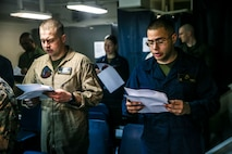 USS Bataan (LHD 5); religious service; 26th Marine Expeditionary Unit