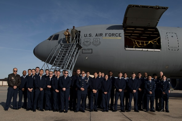 Cadets from the Junior Reserve Officer Training Corps from Southern Regional H.S. and Sayreville H.S. visited Joint Base Maguire-Dix-Lakehurst, N.J., on Dec. 8, 2019, for a flight aboard a KC-10. The 514th is an Air Force Reserve Command Unit located at Joint Base McGuire-Dix-Lakehurst, N.J. (U.S. Air Force photo by Staff Sgt. Sean Evans)