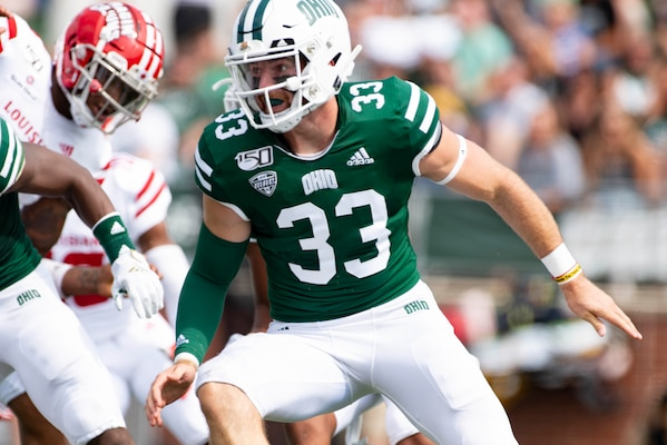 Army 2nd Lt. Devin King, with the Ohio Army National Guard's Battery C, 1st Battalion, 134th Field Artillery Regiment, also serves as the long snapper on the Ohio University football team, making the team in 2018 as a walk-on and earning the starting position this season. King graduated with a bachelor's degree in health service administration in December 2018, and is on target to earn his master's in coaching education.