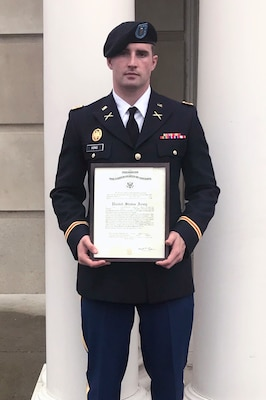 2nd Lt. Devin King commissioned as a second lieutenant in the Ohio Army National Guard through Ohio University's Army ROTC program. He also is the long snapper on the school's football team.