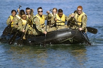 U.S. Army ROTC cadets from the University of San Francisco paddle a Zodiac boat as part of U.S. Army Cadet Command's Ranger Challenge, Oct. 26, 2019, at Marine Corps Base Camp Pendleton, Calif. (Photo Credit: Staff Sgt. Crystal Housman)