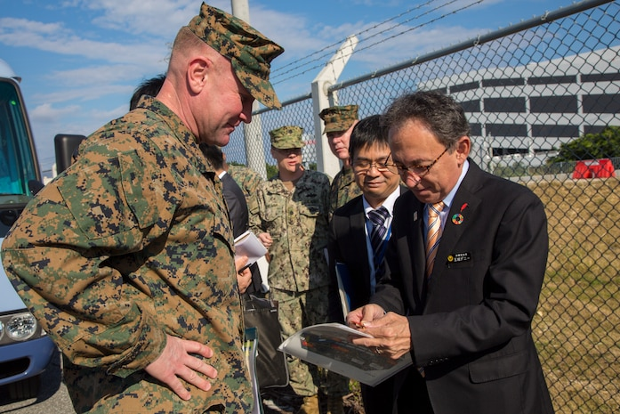 U.S. Marine Corps and Army officials in Okinawa hosted Prefectural Governor Denny Tamaki for his first official visits to U.S. military installations since being elected governor.