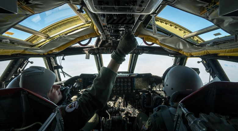 Pilots inside a B-52 Stratofortress cockpit