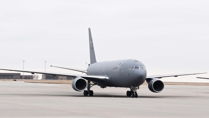 A KC-46A Pegasus taxis down the flightline, Jan. 31, 2019, McConnell Air Force Base, Kan.  Team McConnell received two more KC-46s, and is scheduled  to receive 18 more over the next year. (U.S. Air Force photo by Tech. Sgt. Abigail Klein)