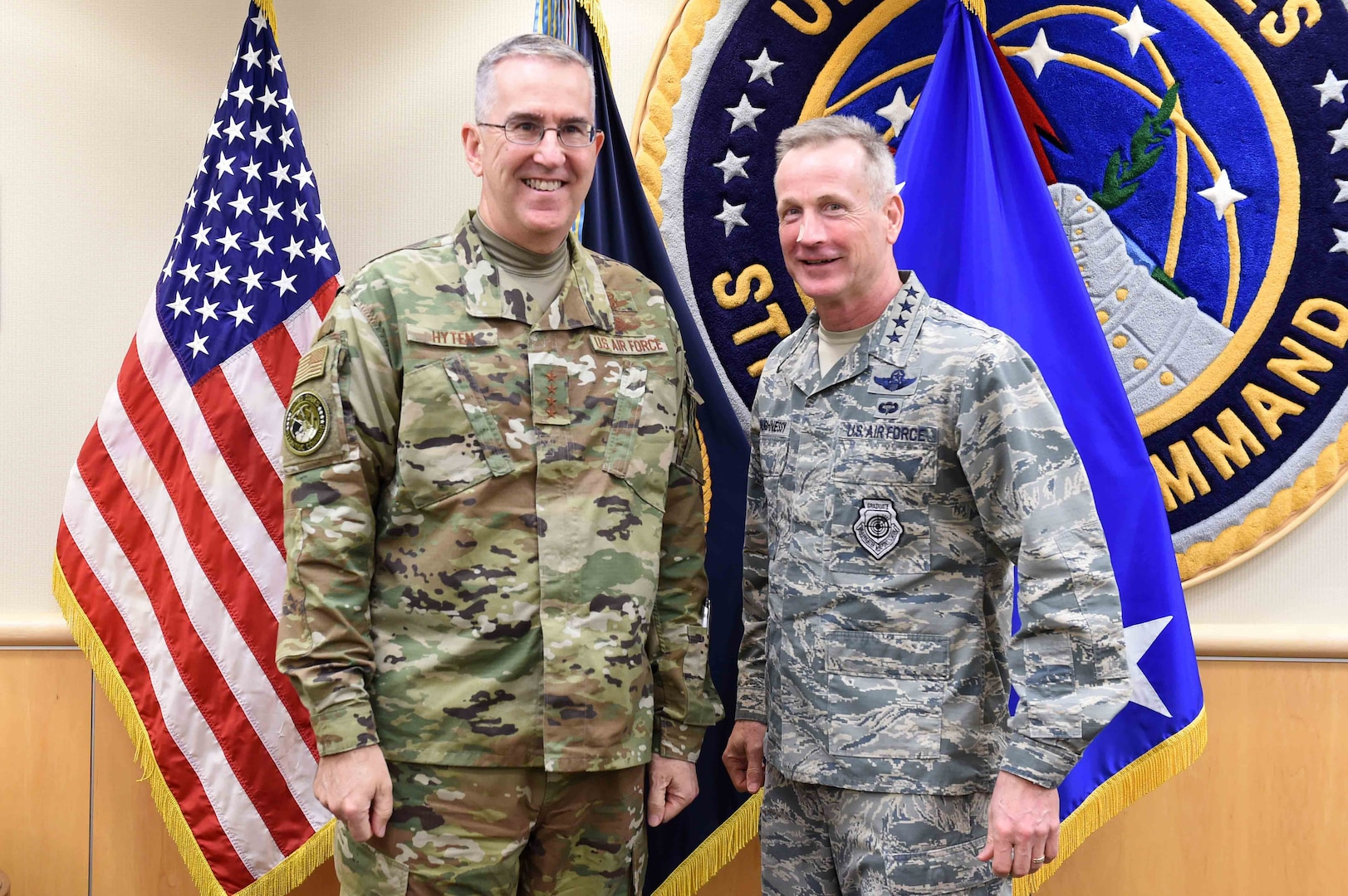 U.S. Air Force Gen. John Hyten, commander of U.S. Strategic Command (USSTRATCOM), meets U.S. Air Force Gen. Terrence O'Shaughnessy, commander of North American Aerospace Defense Command (NORAD) and U.S. Northern Command (USNORTHCOM), at USSTRATCOM headquarters, Offutt Air Force Base, Neb., Jan. 30, 2019. During his visit, O'Shaughnessy toured the command's global operations center, battle deck and new command and control facility. He also participated in discussions with Hyten and other senior leaders on the continuing collaboration between USSTRATCOM, NORAD and USNORTHCOM. USSTRATCOM has global responsibilities assigned through the Unified Command Plan that include strategic deterrence, nuclear operations, space operations, joint electromagnetic spectrum operations, global strike, missile defense, and analysis and targeting.