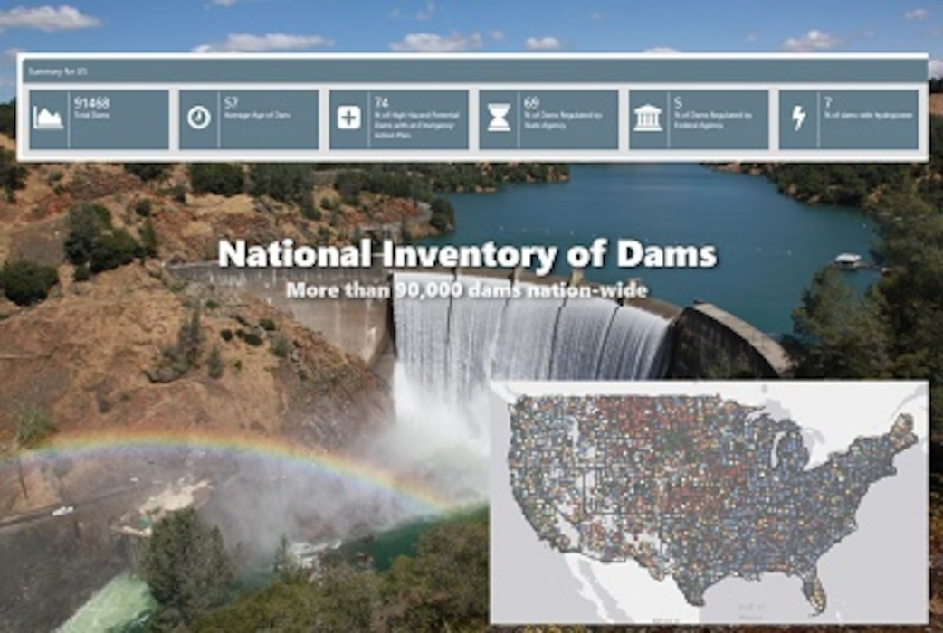 The 2018 National Inventory of Dams (NID) is now available! All charts, queries and maps reflect the most current NID database. The NID was populated using the 116th Congressional District information. State and federal dam regulators provided their data from May to November 2018 for inclusion in the 2018 database.