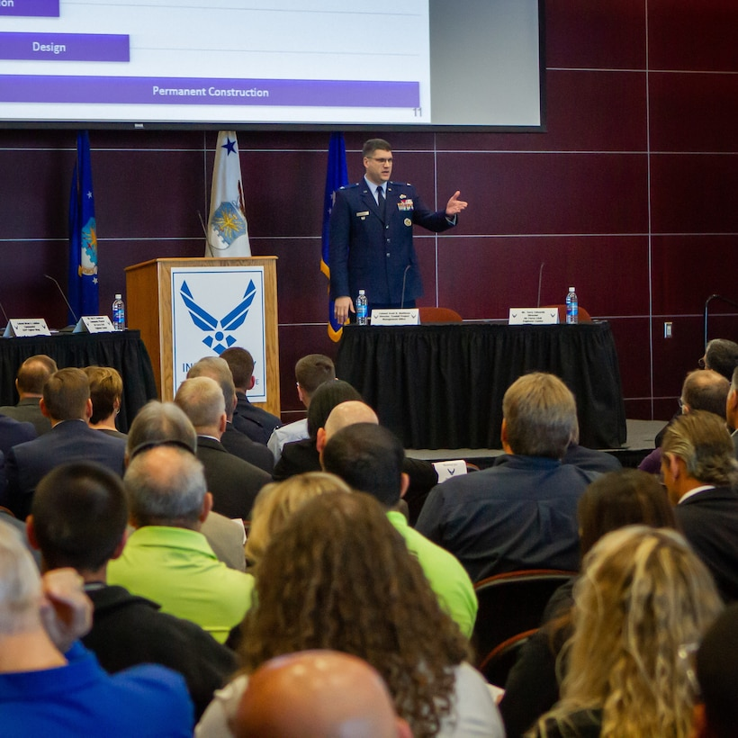Air Force leaders met with professionals from construction and other industries to begin rebuild of Tyndall AFB.