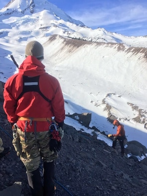 Members of the 304th Rescue Squadron, Air Force Reserves, participate in a civilian search and rescue mission with local agencies on Mt. Hood, Jan. 30th 2019.