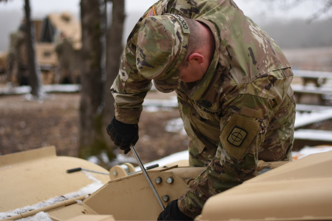 Members of the 469th Engineer Platoon out of Bentonville Arkansas run the M160 Robotic Mine Flail at Fort Leonard Wood, Missouri on January 15th, 2019 (U.S. Army photo by Maj. Dan Marchik/416th Theater Engineer Command).
