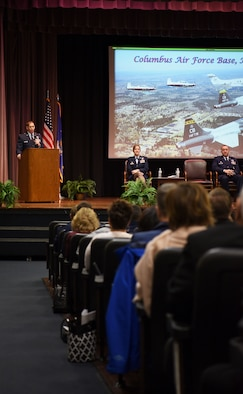 Lt. Col. Kevin Walsh, U.S. Air Force Air Demonstration Squadron commander/leader, speaks at Specialized Undergraduate Pilot Training Class' 19-04/05 graduation Jan. 25, 2019 on Columbus Air Force Base, Mississippi. Walsh spoke about the importance of every mission connecting, every family connecting, and every Airmen connecting to those around them, because the Air Force is stronger together. (U.S. Air Force photo by Airman 1st Class Keith Holcomb)