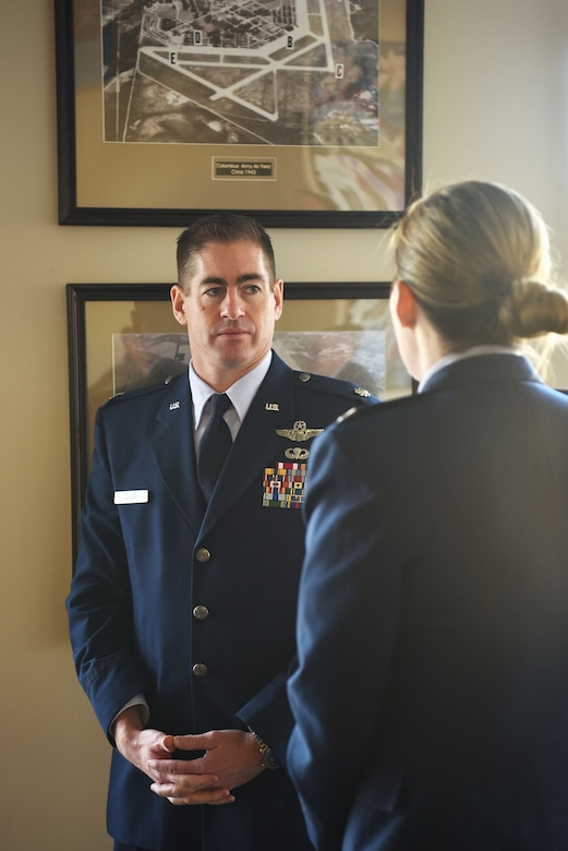 Lt. Col. Kevin Walsh, , speaks to Col. Samantha Weeks, 14th Flying Training Wing commander, before Specialized Undergraduate Pilot Training Class' 19-04/05 graduation Jan. 25, 2019 on Columbus Air Force Base, Mississippi. Walsh and Weeks have both flown for the Thunderbirds. (U.S. Air Force photo by Airman 1st Class Keith Holcomb)