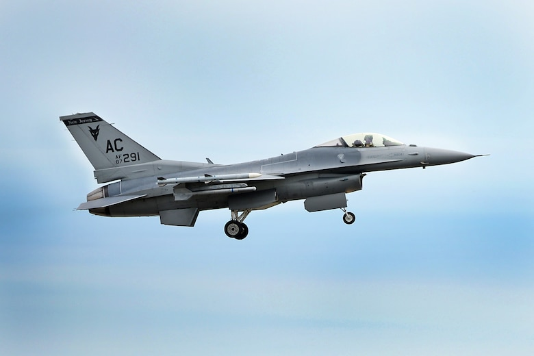 A photo of an F-16C Fighting Falcon from the 177th Fighter Wing flying over Atlantic City.