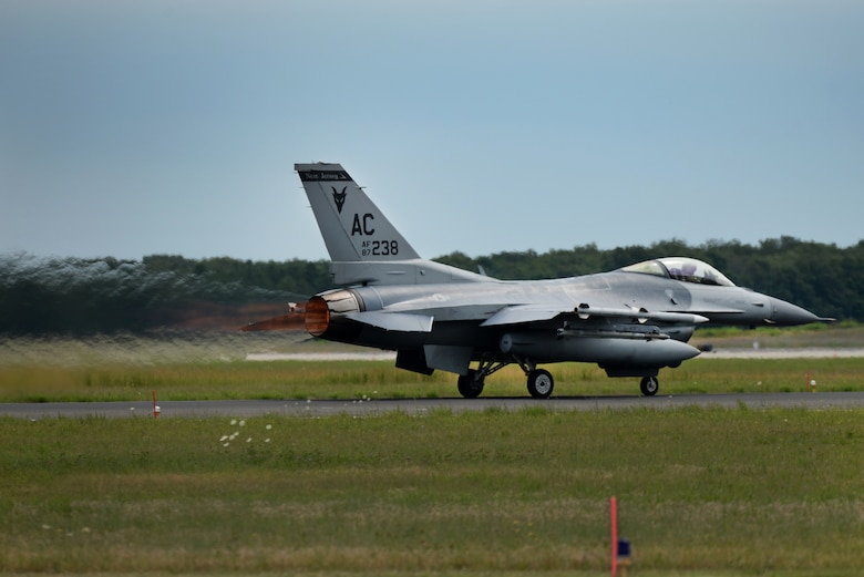 A picture of a U.S. Air Force F-16C Fighting Falcon with the 177th Fighter Wing on the runway.