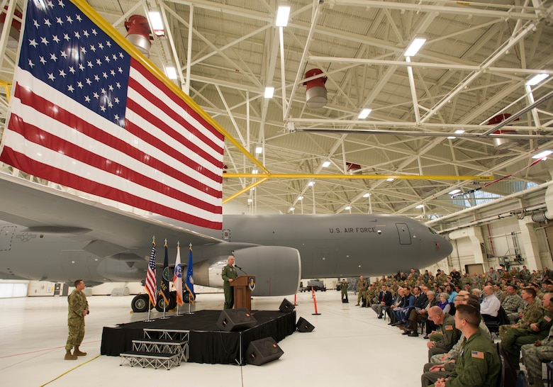Gen. Paul J. Selva, 10th Vice Chairman of the Joint Chiefs of Staff, speaks to Airmen at McConnell Air Force Base, Kan., Jan. 31, 2019, during a welcoming ceremony for the delivery of the third and fourth KC-46A Pegasus aircraft. McConnell is expected to receive 18 new KC-46s during the initial allocation to the Air Force. (U.S. Air Force photo by Staff Sgt. David Bernal Del Agua)
