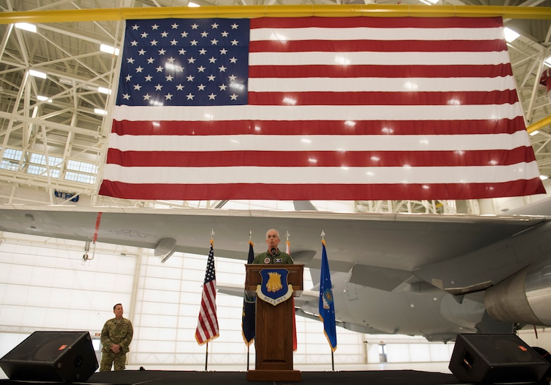 Gen. Paul J. Selva, 10th Vice Chairman of the Joint Chiefs of Staff, speaks during a welcoming ceremony for the delivery of the third and fourth KC-46A Pegasus aircraft at McConnell Air Force Base, Kan., Jan. 31, 2019. Global air refueling is the foundation of global mobility and the bedrock of the nation's ability to deploy forces. The KC-46 is the newest aircraft in the Air Force's strategic arsenal, and it will operate along with the KC-135 Stratotanker and the KC-10 Extender. (U.S. Air Force photo by Staff Sgt. David Bernal Del Agua)