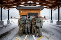 U.S. Air Force Col. Benjamin Bishop, the 354th Fighter Wing commander, participates in a scenario on the MILO Range system with a 354th Security Forces Squadron Airman Jan. 29, 2018, at Eielson Air Force Base, Alaska. Bishop experienced first-hand how the simulator helps prepare Airmen for scenarios they can possibly run into. (U.S. Air Force photo by Senior Airman Isaac Johnson)