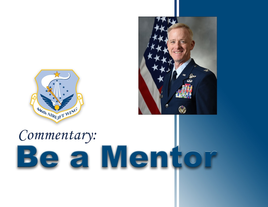 Col. Tony P. Angello, 446th Airlift Wing vice commander, discusses the importance of mentoring and establishing a mentoring program at the Rainier Wing.
