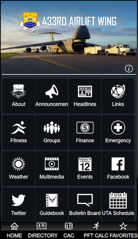 Screenshot of AF Connect app, 433rd Airlift Wing page.