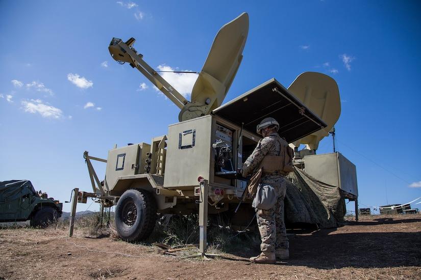 Marine operates an antenna terminal