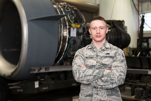 Airman 1st Class David Moubray is an aerospace propulsion specialist for the 167th Airlift Wing and is the wing's Airman Spotlight for February 2019.(U.S> Air National Guard photo by Senior Master Sgt. Emily Beightol-Deyerle)