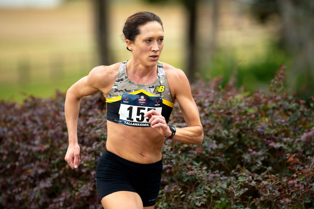 Army Maj. Kelly Calway competes in the 2019 Armed Forces Cross Country Championship and concurrently the 2019 USA Track and Field Cross Country Championship.