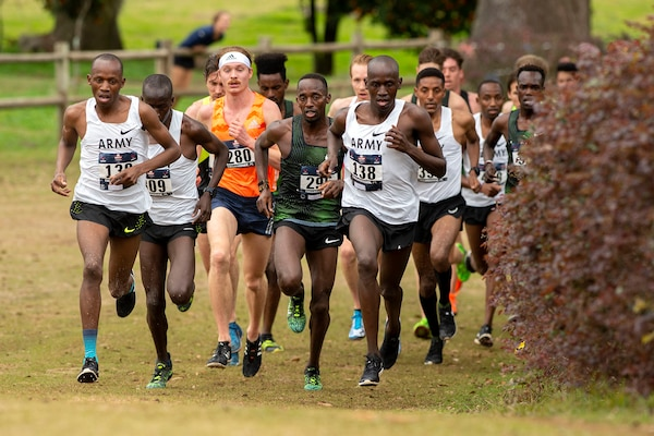 Army runners compete with their peers as the top cross country runners in the nation during the 2019 Armed Forces Cross Country Championship which ran concurrently with the 2019 USA Track and Field Cross Country Championship .