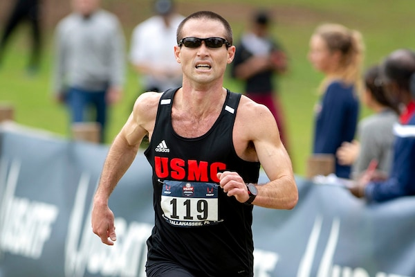 Marine Corps Sean Barrett competes in the 2019 Armed Forces Cross Country Championship and simultaneously the 2019 USA Track and Field Cross Country Championship.