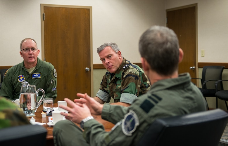 Netherlands Chief of Defense, Lieutenant Admiral Rob Bauer, receives a mission brief from 56th Fighter Wing leadership at Luke Air Force Base Ariz. Jan 30, 2019. Brig. Gen. Todd Canterbury discussed the wing's F-35A training mission and the various partnerships that Luke AFB has. (U.S Air Force photo by Airman 1st Class Jacob Wongwai)