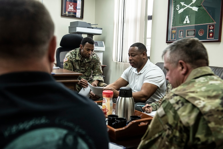 U.S. Army Col. Kevin Russell, Joint Task Force-Bravo commander, speaks with the U.S. Army South Sexual Harassment/Assault Response and Prevention Program team during their visit to Soto Cano Air Base, Honduras, Jan. 14, 2019.