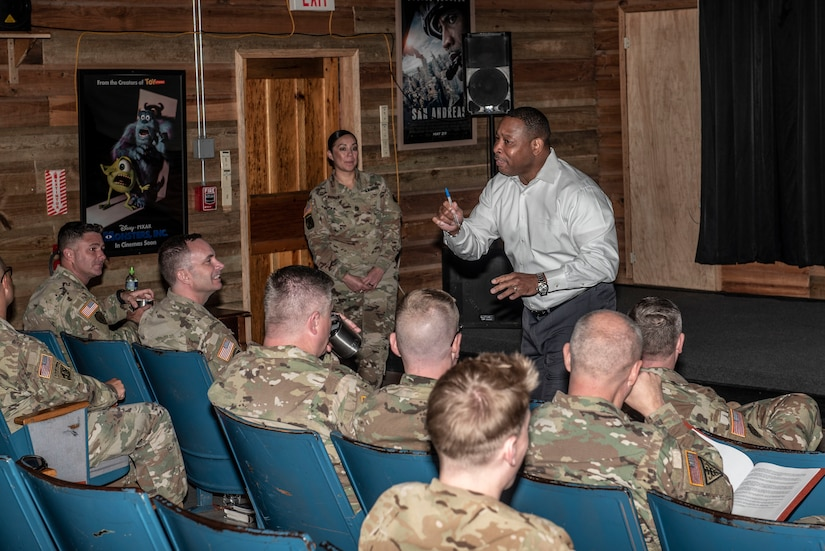 Richard Williams, U.S. Army South Sexual Harassment/Assault Response and Prevention Program manager, speaks to leaders at Soto Cano Air Base, Honduras, Jan. 15, 2019.