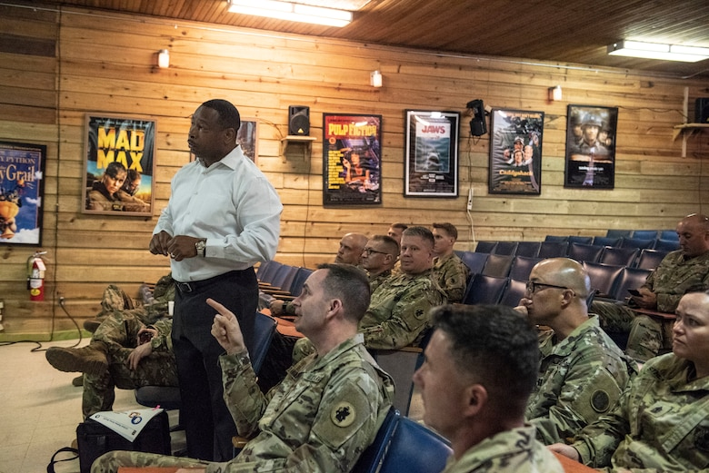 Richard Williams, U.S. Army South Sexual Harassment/Assault Response and Prevention Program manager, briefs leaders about the roles, responsibilities and expectations involved with his program at Soto Cano Air Base, Honduras, Jan. 15, 2019.